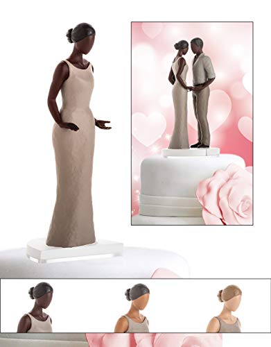 Wedding Cake Toppers for Straight, Gay, Lesbian, Interracial - Bride and Groom Figurines for Cakes - Decorations for Anniversary, Bridal Shower, Engagement (Dark Tone Female)