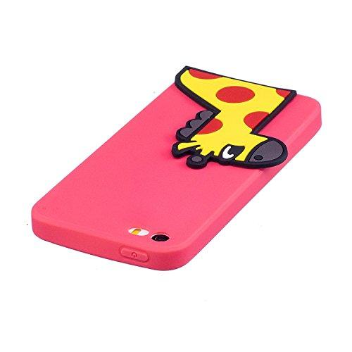 iPhone 5 5S SE Hülle , Leiai 3D Gelbwild Leicht TPU Weich Tasche Schutzhülle Silikon Etui Handyhülle Stoßdämpfende Schale Fall Case Shell für Apple iPhone 5 5S SE