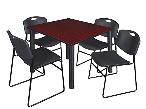 Kee 48'' Square Breakroom Table- Mahogany/ Black & 4 Zeng Stack Chairs- Black by Regency