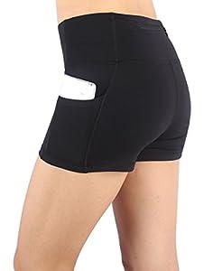 Neonysweets Womens Yoga Short Pants Exercise Workout Running Shorts Black L