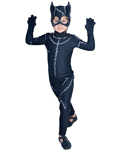 Coskidz Kids' Deluxe Cat Woman Costume Halloween (S) (Cat Girl Costume)