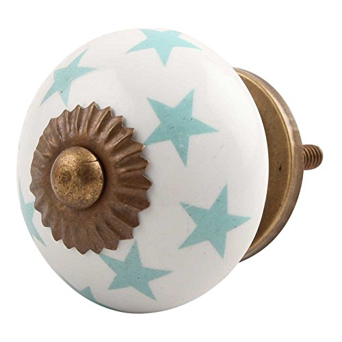 Indianshelf Handmade 2 Piece Ceramic Star Turquoise Dresser Knobs Rust Free Artistic Kitchen Pulls Office -