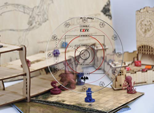 """CZYY Spell AOE Damage Marker for 1"""" Grid or Hex Tabletop Game Mat Acrylic D&D Area Effect Template - RPG Gaming Accessories Perfect for Dungeons and Dragons, Pathfinder and Other TTRPGs"""