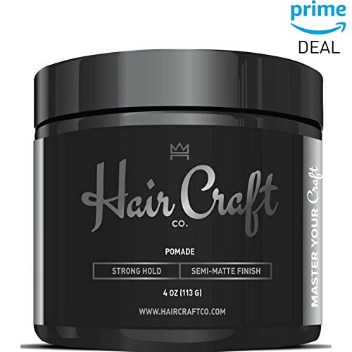 - Hair Craft Co. Pomade 4oz - Best Semi-Matte Finish Shine - Strong Hold (Gel) – Men's Styling Product, Barber Approved - Water Based/Soluble - Defining Texture & Scented - Straight/Thick/Wavy Hair