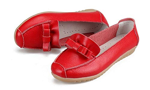 Women's Leather Loafers Flats Casual Round Toe Moccasins Wild Breathable Driving Shoes(Red Lable 37/6.5 B(M) US Women) ()