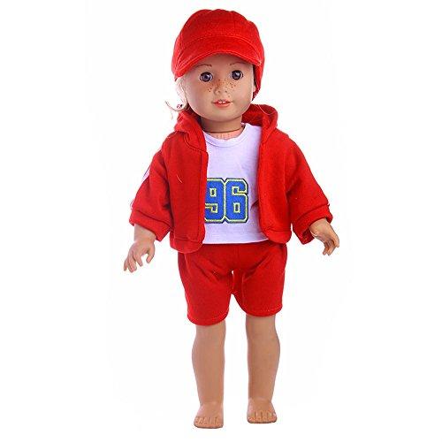 (AMOFINY 4PC New Hat + T-shirt + Coat + Pants DIY Doll Girl &Boy Doll For 18 Inch)