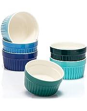 COM-FOUR® 6x Ceramik Ramekins - ugnsbeständiga Soufflé-rätter - Creme Brulee keramiska skålar - Ramekin-rätter och pate-formar för t.ex. ragoutfena - vardera 200 ml - i olika nyanser av grönt och blått