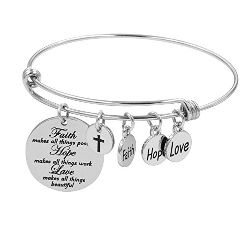 Disc Love Silver (Faith Bracelet for Christian Expandable Wire Bangle Jewelry Gift (Faith hope love))