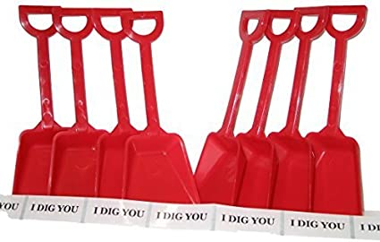 7 Inches Tall Small Toy Plastic Shovels Red 12 I Dig You Stickers 12 Pack