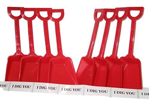 24 Small Toy Plastic Shovels Red, Made in America, 7 Inches Tall, 24 I Dig You Stickers (Plastic Toy Shovels)