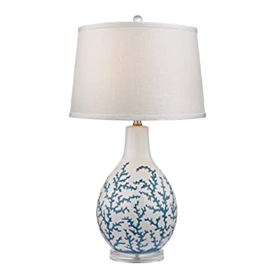 """Diamond Lighting Transitional 27"""" Sixpenny Table Lamp in White"""