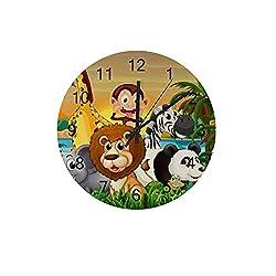 ZHONGJI Wooden Wall Clock Round Silent Non Ticking Battery Drive Home Decor Accessories Vintage Style Office Bedroom Panda Cartoon Wooden Clock