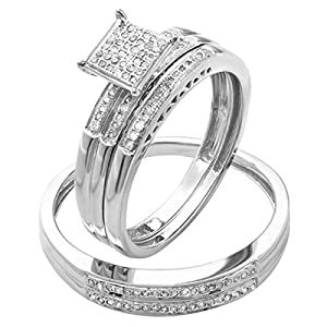 Dazzlingrock Collection 0.20 Carat (ctw) Round Diamond Men & Women's Micro Pave Engagement Ring Trio Bridal Set 1/5 CT