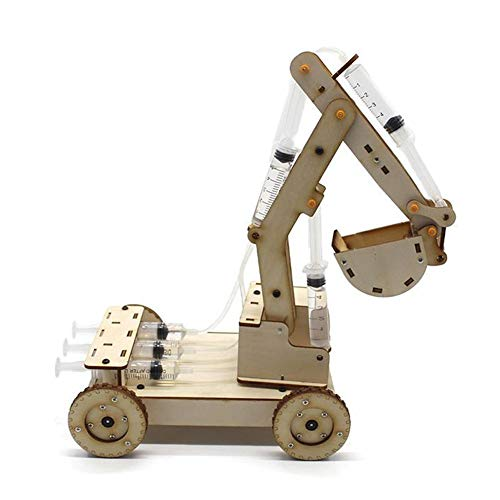 Zerodis Assembly Wooden Excavator Model, DIY Assembled Hydraulic Digger Car Playset Student Science Handmade Toy Educational Experiment Kit Set for Kids Toddler Child(NO.2)