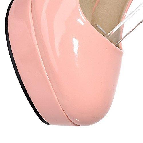 VogueZone009 Damen Schnalle Rund Zehe Hoher Absatz PU Leder Gemischte Farbe Pumps Schuhe Pink