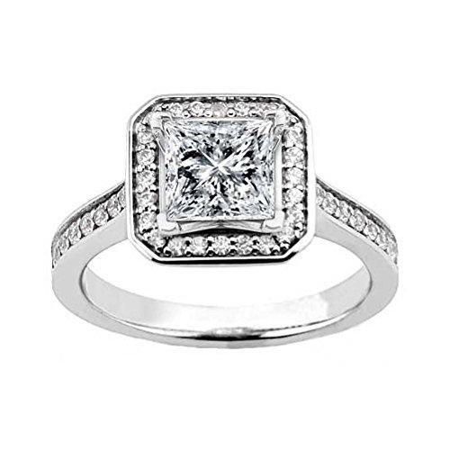 Bridal 2.21 ct. TW Princess Diamond Halo Engagement Ring Ct Tw Princess Diamonds Band