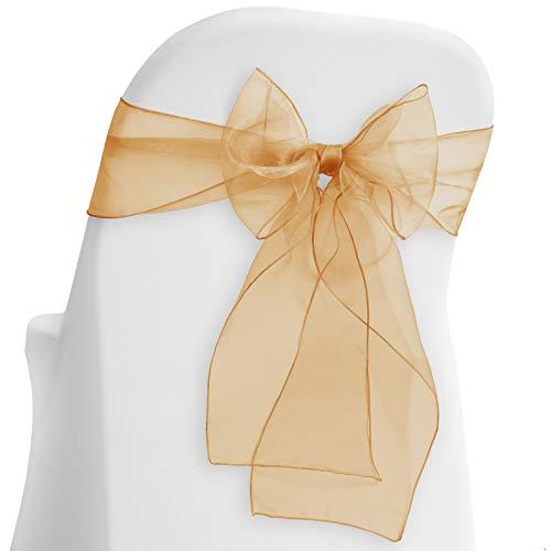 Lann's Linens - 10 Elegant Organza Wedding/Party Chair Cover Sashes/Bows - Ribbon Tie Back Sash - Chocolate Brown -