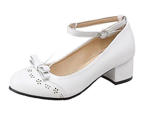 Pelle Puro Maiale VogueZone009 Tonda Bianco di Donna Fibbia Flats Ballet Punta w1IRa