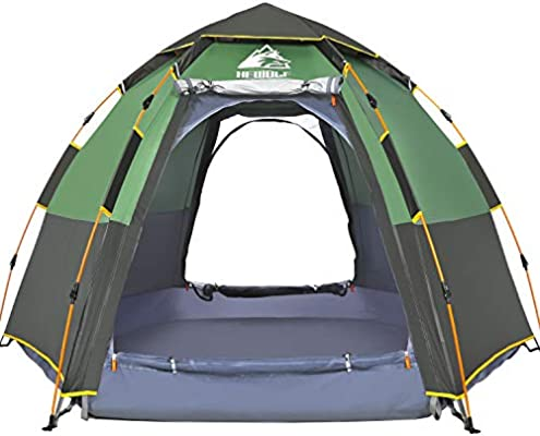 sports shoes afff6 ef672 HEWOLF Pop Up Tent for 3 to 4 Person Automatic Opening Hexangular Hydraulic  Double Layer Tent - Ultra Large Waterproof Dome Tent with Porch - 100% UV  ...