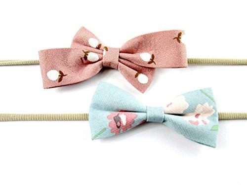 Print Skinny Headband (Baby Wisp 2 Infant Elastic Headbands Soft Fabric Bows Acorn Floral Print Baby Girl)