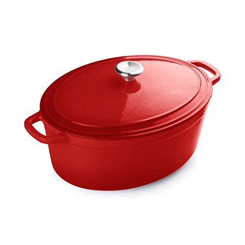 FortheChef 7 Quart Porcelain Enameled Cast Iron Oval Dutch Oven, Red
