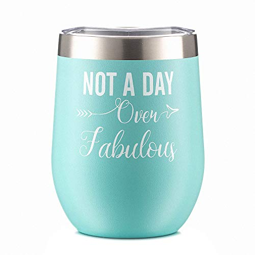 Amzyt Not A Day Over Fabulous | Funny Birthday, Mother's Day Gifts Ideas for Women, Her Include BFF,Coworker |12 oz Mint Stainless Steel Insulated Stemless Wine Glass Tumbler Cup with - Mint Wedding Glasses