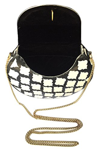 Multi Handmade Wallet Purse RESIN Women Batu WORK Stylish hard GLASS with amp; Lee Golden Antique Shape Chain Elipse Clutch METAL for LAC BEADS Handbag OH7SfW7