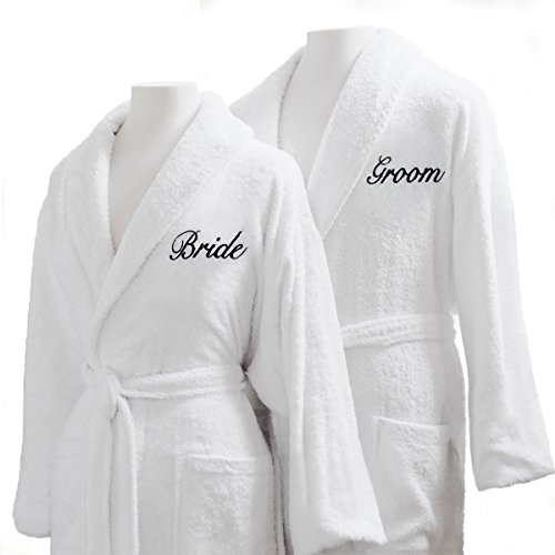 Couple's Terry Cloth Bathrobe Set-100% Egyptian Cotton-Unisex/One Size Fits Most-Luxurious, Soft, Plush, Elegant Script Embroidery-Perfect Wedding Gift-Luxor Linens-Bride/groom with Gift Packaging