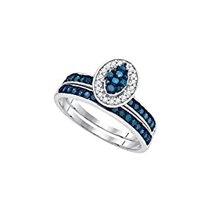 10kt White Gold Womens Blue Colored Diamond Cluster Bridal Wedding Engagement Ring Band Set (1/2 cttw.)