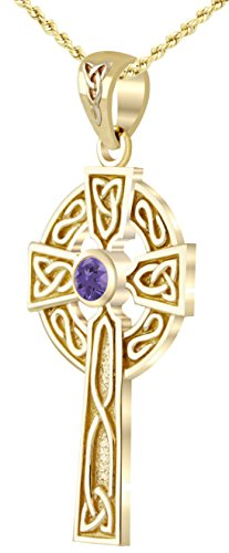 US Jewels And Gems 14k Yellow Gold Chatham Synthetic Alexandrite Irish Celtic Cross Pendant, 18in 2.5mm Figaro Necklace