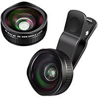 M.Way Professional Camera Lens Pro: Ultra-Clear 15X Macro Lens & 0.6X Wide Angle Lens, Clip-On Cell Phone Camera Lenses with HD of 4K for iPhone 7/6/5/4, iPad, Samsung S7/S6/S5, Most Smartphones