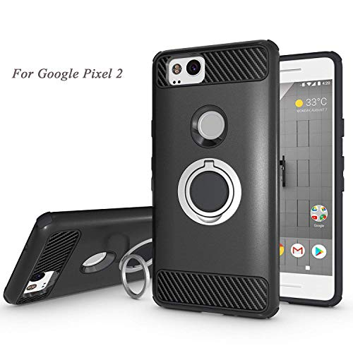 Newseego Compatible Google Pixel 2 Case with Armor Dual Layer 2 in 1 with Extreme Heavy Duty Protection and Finger Ring Holder Kickstand Fit Magnetic Car Mount for Google Pixel 2-Black