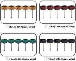 25mm 1 Mix Grit Abrasive Polishing Buffing Wheels Burr For Proxxon Dremel Rotary Tools 3mm Shank Pack of 80Pcs