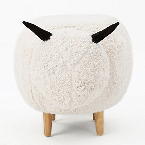 Kids Bench Sheep Plush Animal Shape Indoor Ottoman Chair for Children, Comfortable Velvet Upholstery Seating with Natural Rubberwood Legs, 30.5W x 17.5D x 17.5H inches, White + Free Ebook by Best Selling Home