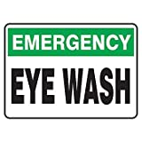 Emergency Eye Wash Sign7X10in Plastic (2 Pack)