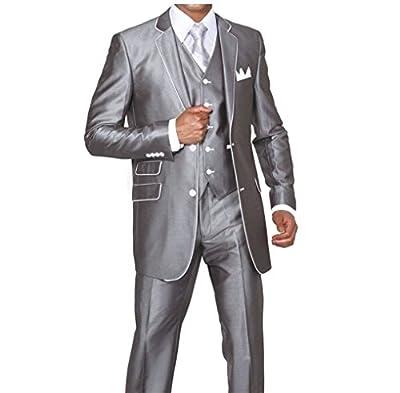 MYS Men's Custom Made Slim Fit Wool Feel Two Button Tuxedo Suit Pants Vest Set Silver