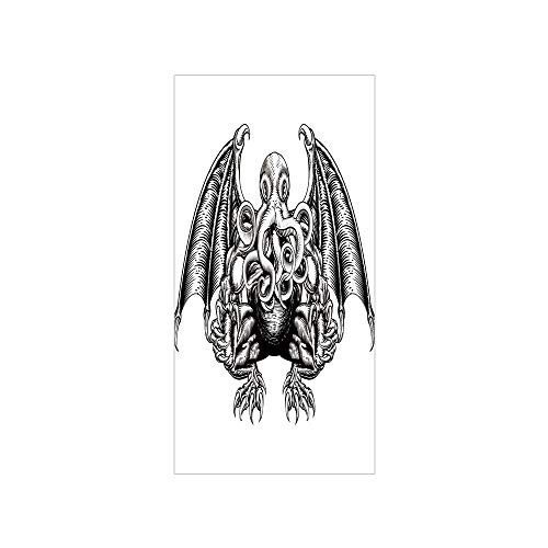 (Decorative Privacy Window Film/Cthulhu Monster Evil Fictional Cosmic Monster in Woodblock Style Illustration/No-Glue Self Static Cling for Home Bedroom Bathroom Kitchen Office Decor Black)