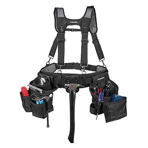 Yeoh Huksy HD00144 Carpenter Tool Belt 16-Pocket, Black Tool Belt Suspenders, Carpenter Rig, Padded Suspenders, Polyester Tool Belt, Dual Hammer Loops, Rugged, Long-lasting, Leather Work Gloves