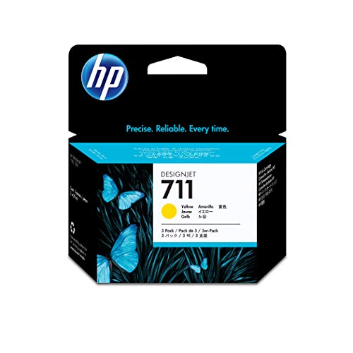 HP DesignJet T 520 36 Inch -Original HP CZ136A / 711 - Yellow Ink Cartridge (3 Pieces) -3 x 29 ml