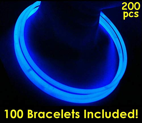 Glow Sticks Bulk Wholesale Necklaces, 100 22 Blue Glow Stick Necklaces +100 Free Assorted Glow Bracelets! Bright Color, Glow 8-12 Hrs, Connector Pre-Attached, Sturdy Packaging, GlowWithUs Brand