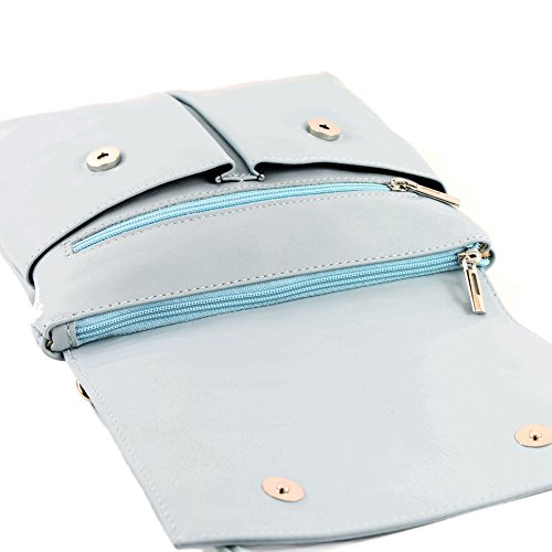 Farbe Präzise Farbe Nappa cuir Ital Umhänge Eisblau bandoulière en à Sac modamoda T63 nur de OqwCff