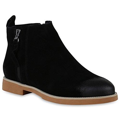 Stiefelparadies Damen Klassische Stiefeletten Leder Boots Zipper Schuhe Flandell Schwarz Zipper