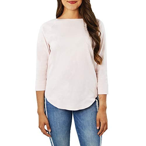 Lilla P 3/4 Sleeve Boatneck Raglan Top in Rose Water(Large, Pink)