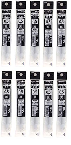 (Pentel Refill Ink for EnerGel Liquid Gel Pen / 0.5mm Black Ink / Value Set of 10 Refills)
