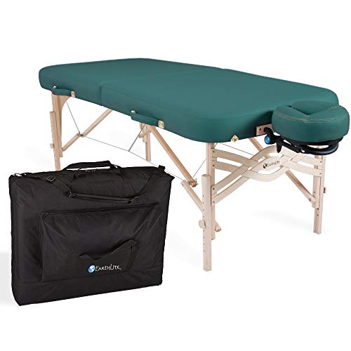 "EARTHLITE Premium Portable Massage Table Package SPIRIT - Spa-Level Comfort, Deluxe Cushioning incl. Flex-Rest Face Cradle & Strata Face Pillow, Carry Case (30/32"" x 73"") - Made in USA, Teal"