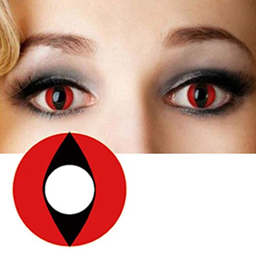 Women SAFE Multi-Color Colored Cute Charm and Attractive Fashion Contact Lenses Cosmetic Makeup Eye Shadow Halloween Contact Lenses Makeup Cosplay Party (Red Cat) -