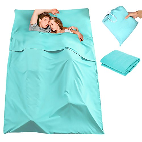 CAMTOA Sleeping Bag Liner, 2 Persons Travel Camping Sheet,Antimicrobial Soft Cotton Compact Sleep Sheet with Lightweight Carry Bag for Travel, Hotel,Youth Hostel,Picnic,Business Trip etc.Blue