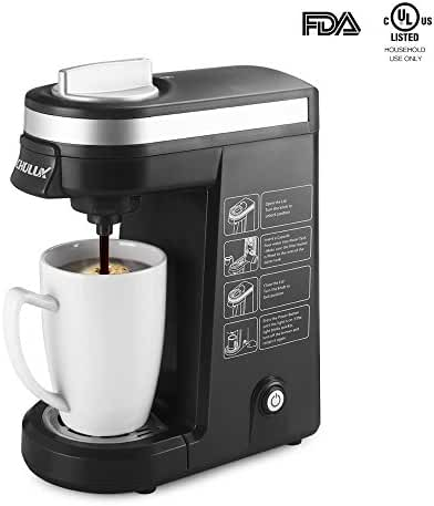 CHULUX Single Serve Coffee Maker Brewer for K Cups with 12 Ounce Water Tank,Black