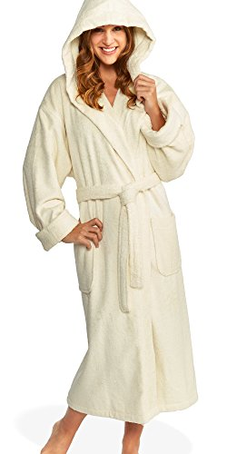 Hooded Terry Bathrobe Unisex, 100% Combed Pure Turkish Cotton, Made in Turkey ... (Medium, Ivory) (Pure Cotton Terry Bathrobe)