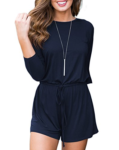 sual 3/4 Sleeve Shorts Rompers Jumpsuit Drawstring ()